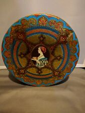 "Vintage Hostess Tin Fruit Cake art deco woman gold red blue 1950s 8"" round"