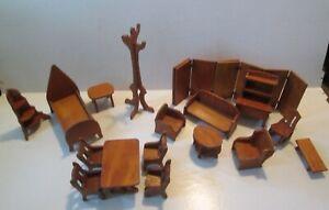 Vintage Wood Doll Furniture 17 Pieces + Rugs