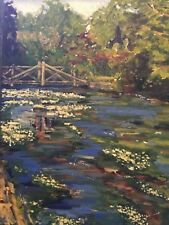 original landsape oil painting of bridge and water-crowfoot on the river Itchen