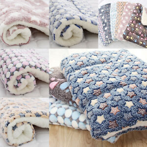 Pet Dog Puppy Warm Coral Fleece Blankets Plush Winter Sleeping Bed Mat Supply