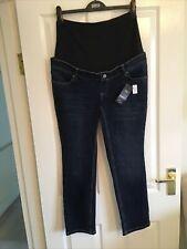 M&S Maternity Jeans. Size 12 Short Medium Indigo. Straight Leg. Over Bump. BNWT