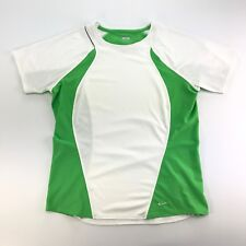 Nike Fit Dry Womens White Green Vented Short Sleeve Athletic Running Shirt L
