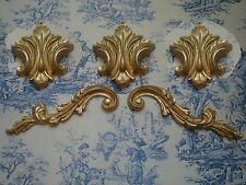 ORNATE SCROLLS AND 3 LEAFS DECORATIVE FURNITURE MOULDINGS ANTIQUE GOLD RESIN