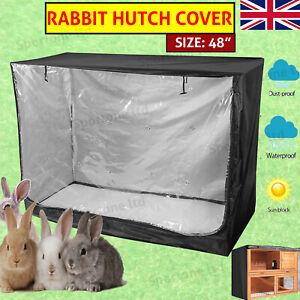 """48"""" Cage Covers Pet Bunny Rabbit Hutch Cover Waterproof Double Garden Outdoor UK"""