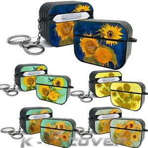 K-V Gogh Sunflowers Oil painting Keychain Protective cover For AirPods Pro case