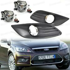 4Pcs Bumper Fog Lights Driving Lamp + Cover Grille for Ford Focus 2009-2011