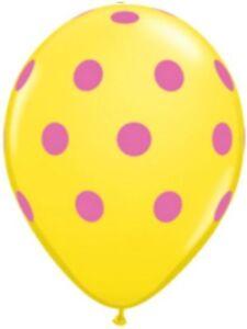 "10pc 11"" Qualatex Big Polka Dot Yellow Wild Berry Latex Balloon Party Decoration"