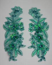 2x Encaje Veneciano Lentejuelas & cuentas Adorno Aplique Color:M Verde azulado #