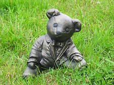 TEDDY BEAR GARDEN ORNAMENT - HEAVY STONE - UK MADE - FREE P&P