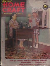Popular Home Craft Magazine Girl With Doll Clothes Sewing Machine October 1946