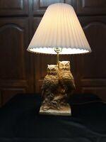 VTG Retro Mid Century Signed Chalkware Plaster Table Lamp, 2 Owls RELIC ART 3way