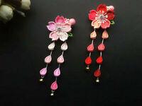 Handmade Hairpin Tsumami Zaiku Kanzashi Sakura Flower Tassel for Kimono Hanfu