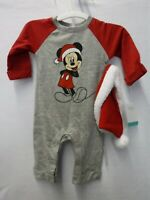 Disney Baby Mickey Mouse Christmas One Piece Pajamas w//Santa Hat 3-6 months