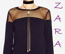 ZARA PACK OF CHOKER AND LONG NECKLACE WITH STARS GOLDEN TONE 2 pcs HOT GIFT