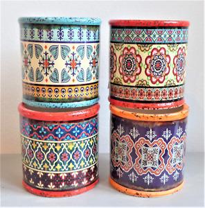Set of 4x Colourful Ceramic Plant Pots Mediterranean Distressed Style 7.3x7.5cm