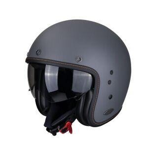 Scorpion Motorrad Jet Helm Belfast Solid in Zement Grau mit Sonnenblende