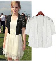BOLERO SHRUG Dress Layer Handcraft Jacket Top Lace 8-18 Wedding Prom Black White
