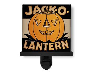 Spooky Jack o Lantern Vintage Pumpkin Halloween Decor Glass Photo Night Light