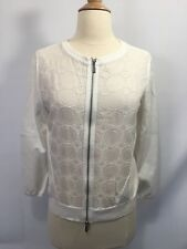 Womens Karen Millen White Eyelet Zip Up Sweater Sz 4 Bomber 3/4 Sleeve Summer