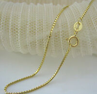 Genuine Solid 18K Yellow Gold Necklace Bamboo Shape Box Link Chain 1.42g Xlee