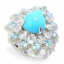 Victoria Wieck Collection SS Turquoise & Rose Cut Blue and White Topaz Halo Ring