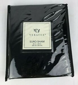 Veratex Chambord Pillow Sham Euro, 26 x 26 In Black New
