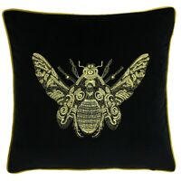 Paoletti Cerana Velvet embroidered Bee Motif cushion cover 50x50cm