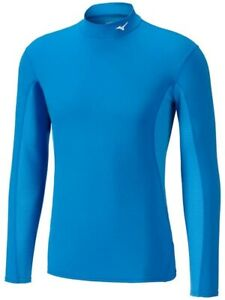 Mizuno Mid Weight High Neck Mens Long Sleeve Base Layer Top - Blue