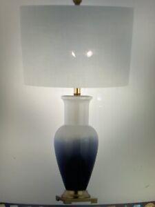 """JONATHAN Y Lighting JYL3017 Navy/White Dip Single Light 32""""H Led Vase Table Lamp"""