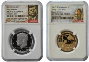 2 Coins 2019-S Kennedy and Sacagawea Proof coins NGC PF70 UC Early Releases