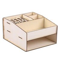 Wooden Paint Ink Bottle Brush Tools Desk Organizer Storage Box Holder Stand
