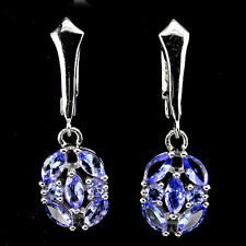 Sterling Silver 925 Genuine Natural Blue Violet Tanzanite Oval Cluster Earrings