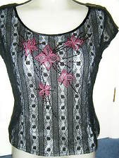 Pretty black lacy top fully lined grey MINOSA Petite UK 12 embroidered beaded