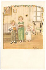 Ebner Artwork Postcard Three Children With a Cake and Flowers~105378