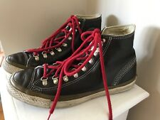 Retro CONVERSE ALL STAR BROWN LEATHER HIGH TOP SHOES Size 8 mens Red