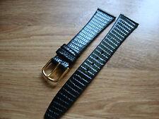 Mens 20mm NOS JB CHAMPION  Gen Black Lizard Watch Strap, 14mm Goldtone Buckle