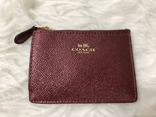NWT Coach Metallic Red Leather Mini Skinny Coin Card ID Wallet With Key ring