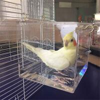 Transparent Spacious Acrylic Bath House Cage For Pet Bird Cockatiels Parrots
