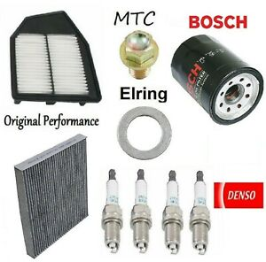 Tune Up Kit Oil Cabin Air Filters Plugs for Honda Accord L4; 2.4L 2008-2010