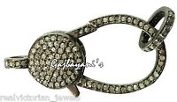 HAND CRAFTED MULTI PURPOSE PAVE ROSE CUT DIAMOND 32 MM .925 SILVER LOBSTER CLASP