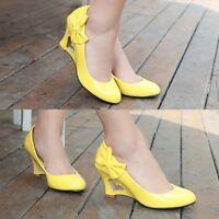 Lady Fashion Patent Leather Round Toe Bowtie Wedge Pumps Sandals Shoes Plus Size