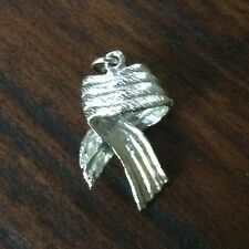 14k Solid White Gold Awareness Ribbon Charm Pendant 2.6g