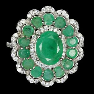 Unheated Oval Emerald 9x7mm Cz 14K White Gold Plate 925 Sterling Silver Ring 7.5