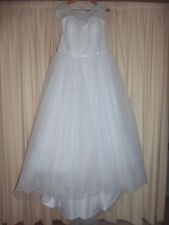 NEW White Wedding dress size 12 - 14 Lace bodice - tulle skirt with train -lined