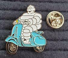 Michelin Man on Scooter pin badge. Vespa Lambretta MOD Classic design