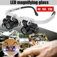 23X Glasses Type Magnifier Watch Repair Tool With Two LED Lights Black Set US