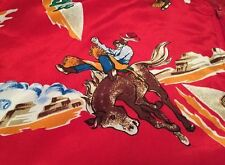 Rare! Vintage Rodeo Cowboy Western Full Zipper Red Nylon Sweater, Jacket.