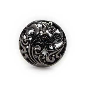 5pcs Hollow Black Metal Shank Buttons for Sewing Clothing Blazer Cardigan 15mm