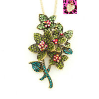 Betsey Johnson Green Crystal Rhinestone Flower Pendant Chain Necklace/Brooch Pin