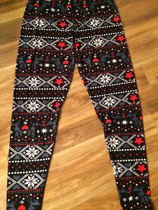 Women's Christmas Leggings 3XL - 5XL Fits Sizes 24 - 32 Red, Black, White